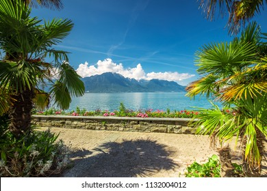 Montreux city with Swiss Alps, lake Geneva and  on Lavaux region, Canton Vaud, Switzerland, Europe.