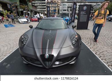 Montreux - SWITZERALND - September 13, 2018 :The new Alfa Romeo 4C Competizione  is presented at Montreux Grand Prix 2018