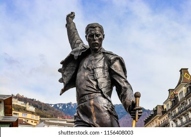 Montreux, Switzerland - April 14 2018: Statue of Freddie Mercury, the famous British singer, locates in the coast of Lake Geneva in Switzerland