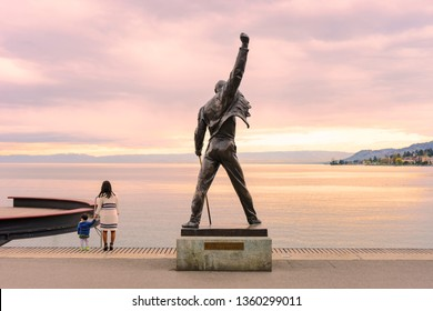 "Montreux, Switzerland - April 15, 2016: Statue of Freddie Mercury, the singer of famous rock band ""QUEEN"" , locates in the waterfront of Lake Geneva in Switzerland."