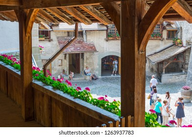 Montreux, Switzerland - August 13, 2015: People in the main courtyard of the Chillon castle on the Leman lake
