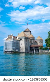 Montreux, Switzerland - August 13, 2015:  The Chillon castle on the Leman lake