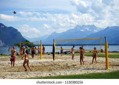 MONTREUX, SWITZERLAND - CIRCA JULY 2018 Beach volleyball