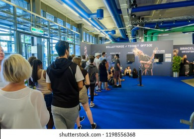 Montreux, Switzerland - July 10, 2108: People waiting to buy tickets to Montreux Jazz festival, sold out