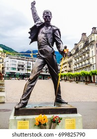Montreux, Switzerland - June 26, 2012: Freddie Mercury bronze statue, a british singer and the lead vocalist of the rock band Queen, at Geneva lake, Montreux, Switzerland, Europe.