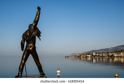 MONTREUX, SWITZERLAND - MARCH 13, 2017 : A statue of Freddie Mercury, a british rockstar and the singer of Queen, locate at Geneva lake, Montreux