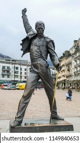 MONTREUX, SWITZERLAND - MARCH 31, 2018: Freddie Mercury monument on waterfront of Geneva lake, made by czech sculptor Irena Sedlecka, has opened in Montreux on 25 November 1996