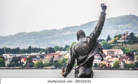 MONTREUX, SWITZERLAND - May 07, 2014 - Freddie Mercury statue on waterfront of Geneva lake, made by Czech sculptor Irena Sedlecka