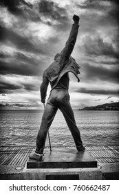 MONTREUX, SWITZERLAND - OCTOBER 23, 2017: Freddie Mercury statue on waterfront of Geneva lake in Montreux, Switzerland, MONTREUX, SWITZERLAND - OCTOBER 23, 2017
