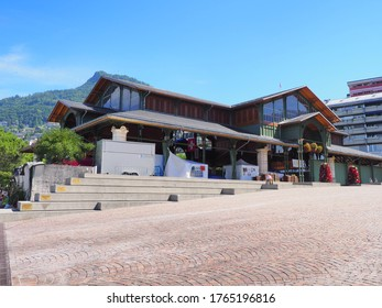MONTREUX, SWITZERLAND on JULY 2017: Market hall building in european city in canton Vaud, clear blue sky in warm sunny summer day.