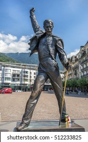 MONTREUX, SWITZERLAND - September 02: Freddie Mercury statue on waterfront of Geneva lake, made by czech sculptor Irena Sedlecka in Montreux, Switzerland on September 02, 2016