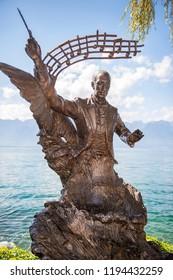 MONTREUX, SWITZERLAND - September 05: Igor Stravinski statue on the shores of Lake Geneva in Montreux, Switzerland on September 06, 2018