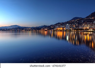 Montreux waterfront at sunset, Switzerland