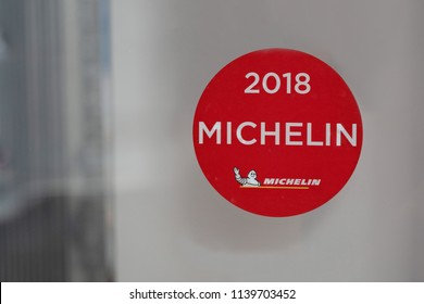 MONTREUX,SWITZERLAND - APRIL 28: View of Michelin Star 2018 Sticker on the Restaurant Mirror on April 28, 2018.