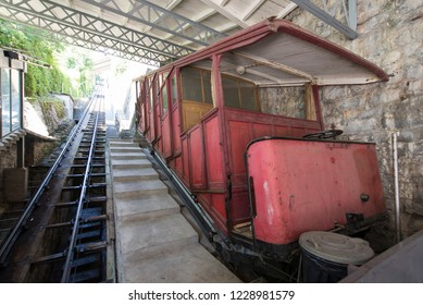 Montreux/Switzerland - August 28 2015: Old funicular at the Territet-Glion funicular railway. This is a funicular in Switzerland, which runs between the Territet and Glion suburbs of Montreux.