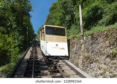 Montreux/Switzerland - August 28 2015: The Territet-Glion funicular railway. This is a funicular in Switzerland, which runs between the Territet and Glion suburbs of the town of Montreux.