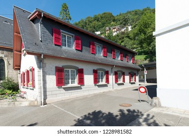 Montreux/Switzerland - August 28 2015: The Territet-Glion funicular railway station. This is a funicular in Switzerland, which runs between the Territet and Glion suburbs of the town of Montreux.