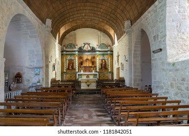 Montrol Senard / France - Aug. 31, 2018: Interior of the old church of Montrol-Sénard, named Eglise Saint-Julien-de-Brioude, near Limoges in France.  From the 11th-13th century.