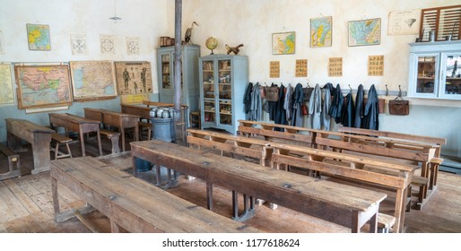 Montrol-Senard / France - Aug. 31, 2018: Interior of the primary school in Montrol-Senard, France. This restored school is in 1930's style. The village is a living museum to an old way of life.
