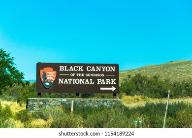 MONTROSE, COLORADO, USA, JULY 1, 2018: Sign of the entrance of Black Canyon of the Gunnison National Park