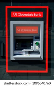 Montrose, Scotland- May 15th 2018: The cash machine at the ClydesdaleBank