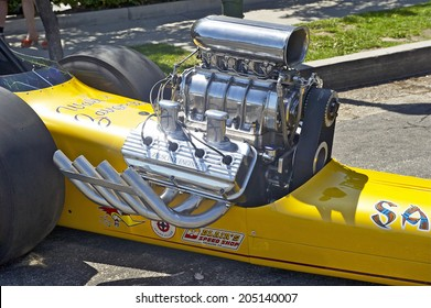 "MONTROSE/CALIFORNIA - JULY 6, 2014: The ""Samurai"" dragster on display at the Montrose Hot Rod & Classic Car Show. July 6, 2014 Montrose, California USA"