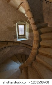MONTROTTIER / FRANCE - JULY 2015: Spiral Gothic staircase inside tower of Chateau de Montrottier, France