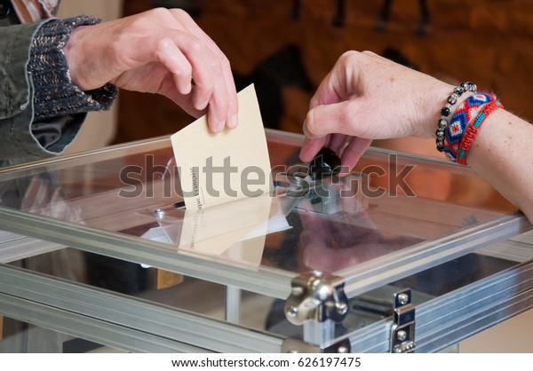 MONTROUGE, FRANCE - APRIL 23, 2017 - Vote for the first round of the french presidential election.