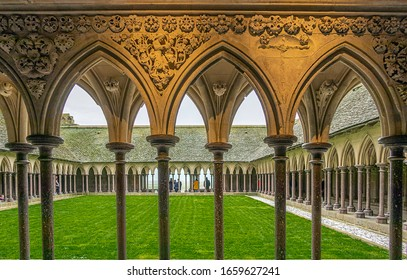 MONT-SAINT-MICHEL, FRANCE - FEBRUARY 22, 2020. French town located in Normandy. Abbey of Mont Saint Michel, the cloister.