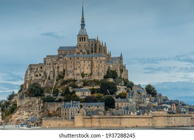 Mont-Saint-Michel, Normandy, France: The skyline of this historic fortified town and Mont-Saint-Michel Abbey located on a tidal island - a famous and very recognisable French landmark.