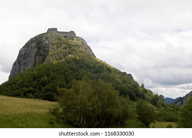 Montsegur castle at the top of the hill, Ariege, France