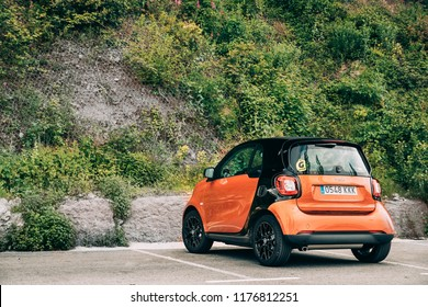 Montserrat, Catalonia, Spain - May 18, 2018: Smart Fortwo Hatchback City Car Parked. Smart City Coupe Manufactured By The Smart Division Of Daimler Ag, Introduced In 1998, Now In Its Third Generation
