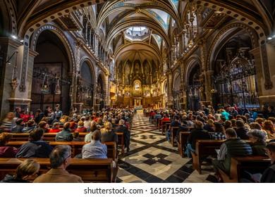 Montserrat, Catalonia, Spain - Oct 27, 2019: Inside the Santa Maria de Montserrat Abbey