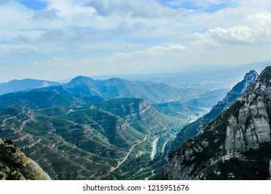 Montserrat, Catalonia / Spain – October 2013: Montserrat Mountain is a multi-peaked mountain range near Barcelona. It is part of the Catalan Pre-Coastal Range