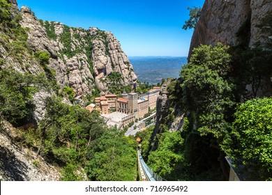 Montserrat funicular railway in a beautiful summer day, Catalonia, Spain