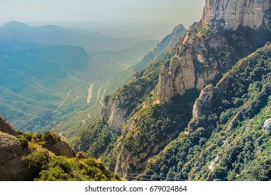 Montserrat green rocks near the Montserrat abbey, Catalonia, Spain