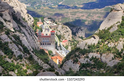 Montserrat Monastery aerial view in Catalonia, Spain