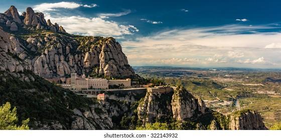 Montserrat Monastery high in the mountains near Barcelona, Catalonia, Spain