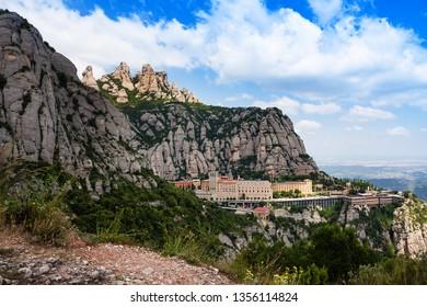 Montserrat monastery. Santa Maria de Montserrat is Benedictine abbey located on the mountain of Montserrat, Monistrol de Montserrat,Catalonia, Spain