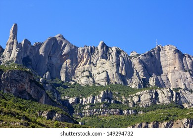 Montserrat mountain, where you can see the Cavall Bernat, the largest and best known of the Montserrat massif monoliths. Catalonia, Spain