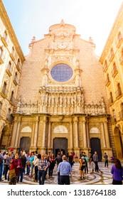 Montserrat, Spain, April 23, 2017: Facade of the Basilica of Montserrat enshrining the statue of the Virgin of Montserrat or Black Madonna