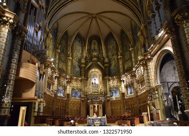 Montserrat, Spain - SEP 02, 2018 - Santa Maria de Montserrat Abbey