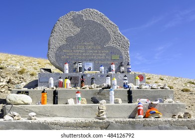 MONT-VENTOUX, FRANCE - SEPTEMBER 2: Commemorative stela of Tom Simpson died on the Tour de France to Mont Ventoux, Septemnber 2, 2016.