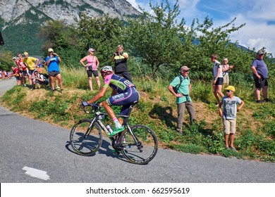 MONTVERNIER, FRANCE - JULY 23, 2015: Ruben Plaza Molina, from team Lampre, in a hairpin turn on the mountain roads on his way up Montvernier in the Tour de france