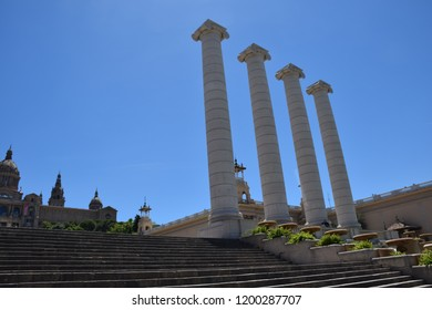 Monument of 4 columns in Barcelona city