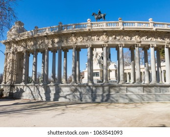 Monument to Alfonso XII in Buen Retiro Park on sunny day, Madrid, Spain. El Retiro is the largest park of the city of Madrid. Spain.