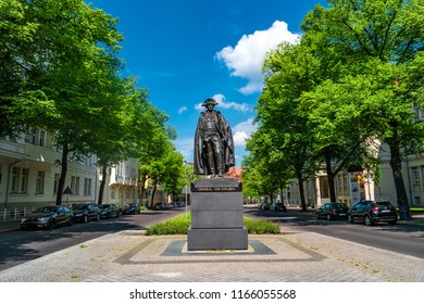 Monument of American general Baron von Steuben in downtown of Magdeburg, Germany, summer time, blue sky