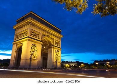 Monument of Arc de Triomphe in Paris.