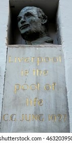 "Monument to Carl Jung, with the text of "" Liverpool is the pool of life ""  in  Liverpool, Mathew Street, Merseyside, England. The photo was taken on 18th of September, 2015."