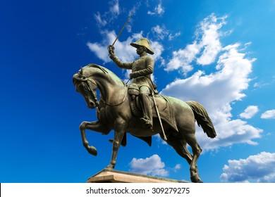 Monument to Carlo Alberto - Turin Italy / Equestrian monument (1861) dedicated to Carlo Alberto di Savoia, king of Sardinia and prince of Turin. Carlo Alberto square, Torino, Piemonte, Italy